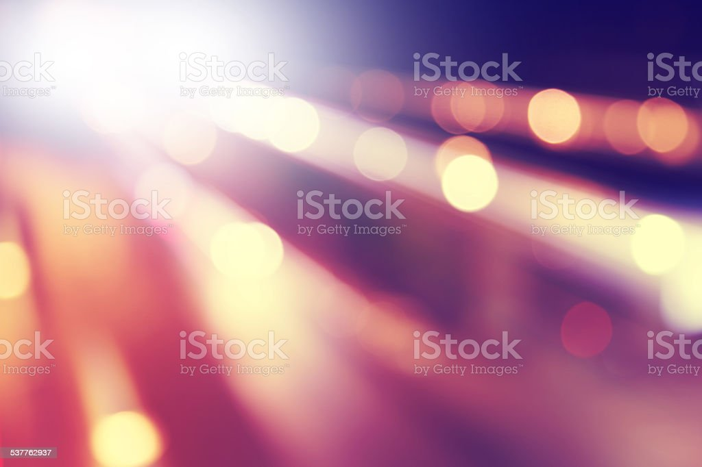 Defocused lights background in motion blur. stock photo
