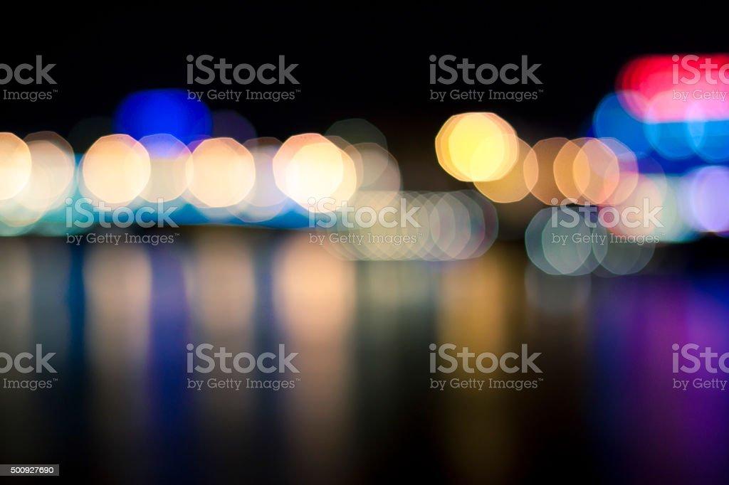 Defocused lights, city, night, background stock photo
