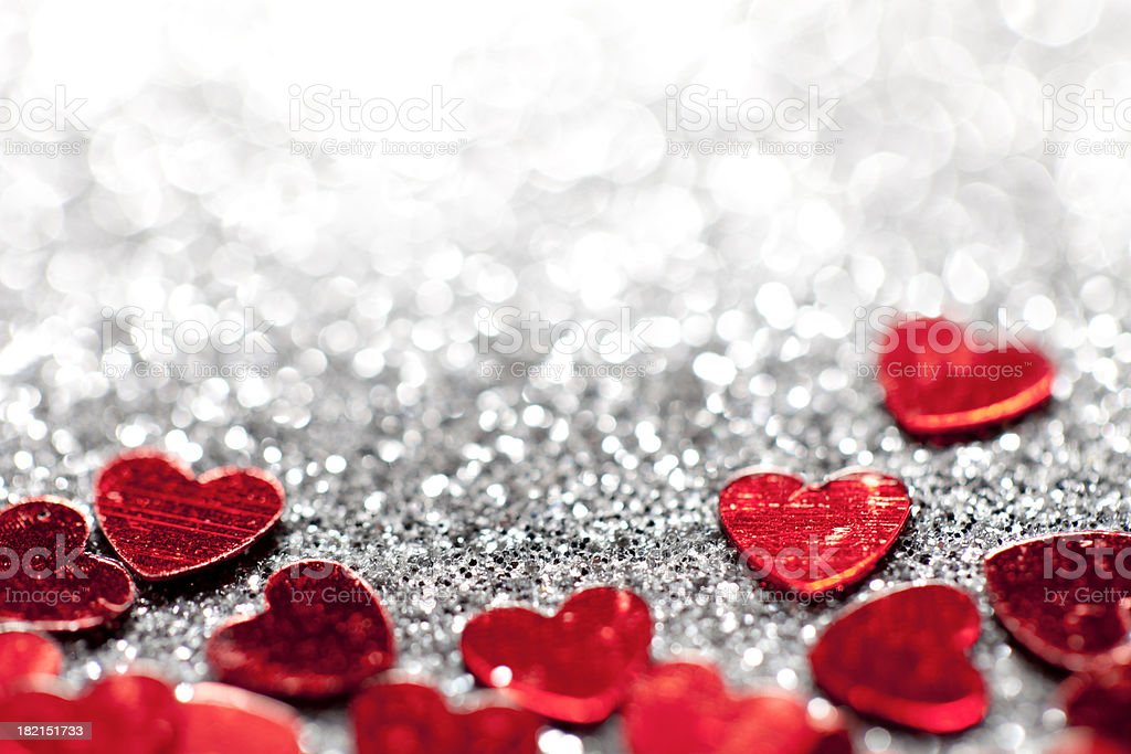 Defocused Lights Glitter hearts - Valentine's Day Love stock photo