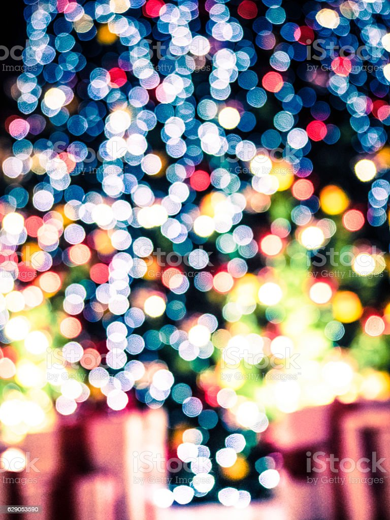 Defocused lights of christmas tree stock photo