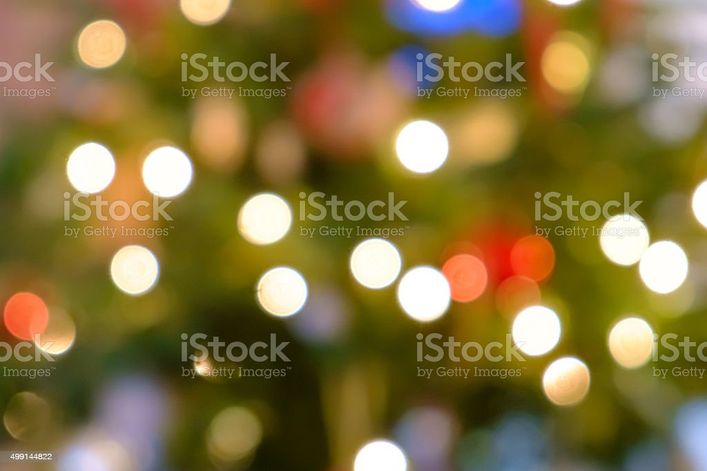 defocused lights on a christmas tree stock photo