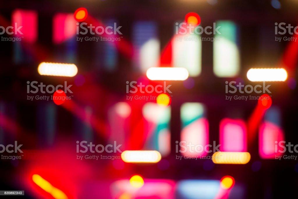 Defocused lights on concert stage stock photo