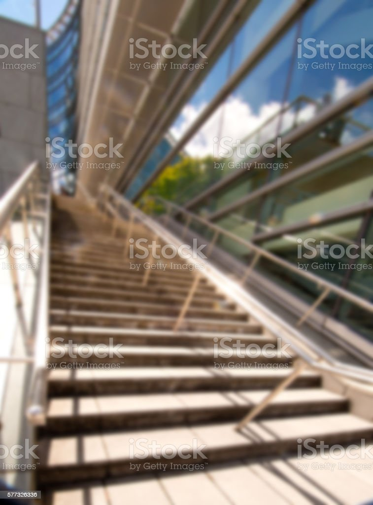 Defocused Modern Commerical Stainless Steel Handrailing and Stairs, Sepia 3XL stock photo