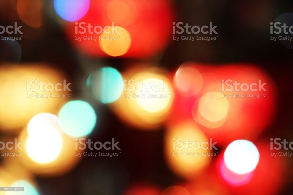 Defocused multi colored light dots stock photo