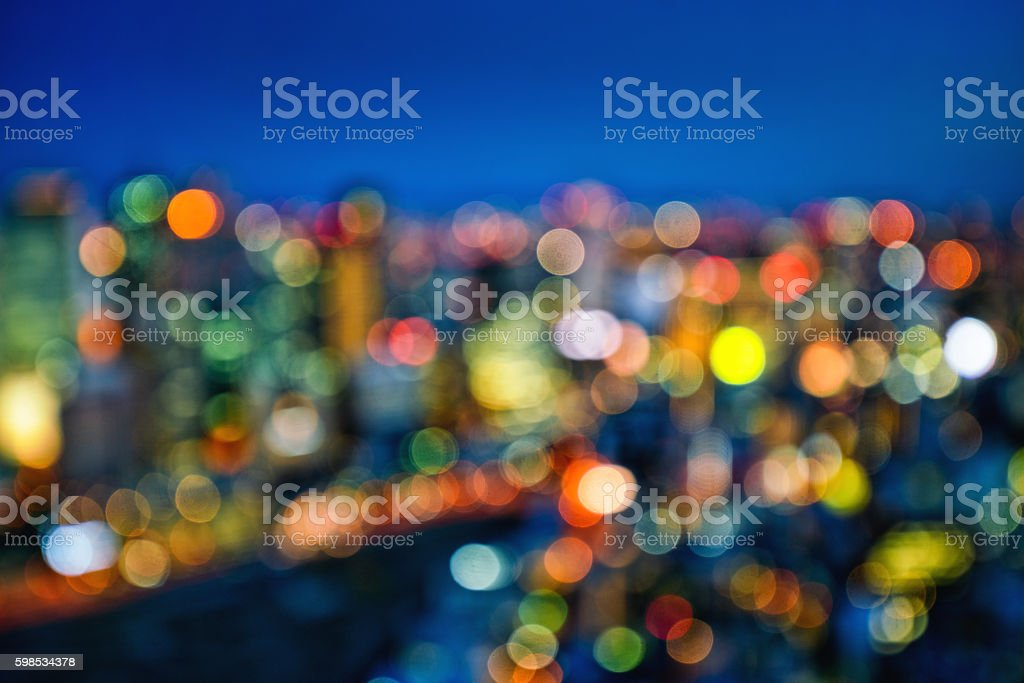 Defocused Night City Lights stock photo