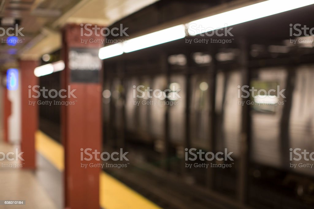 Defocused NYC subway station for backdrop or background stock photo