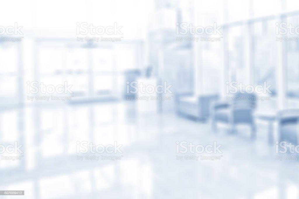 Defocused Office or Hospital Open Corridor Background stock photo