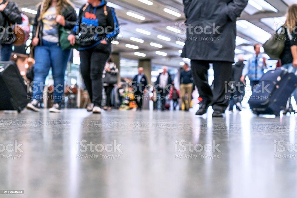 defocused People Walking in modern hallway stock photo