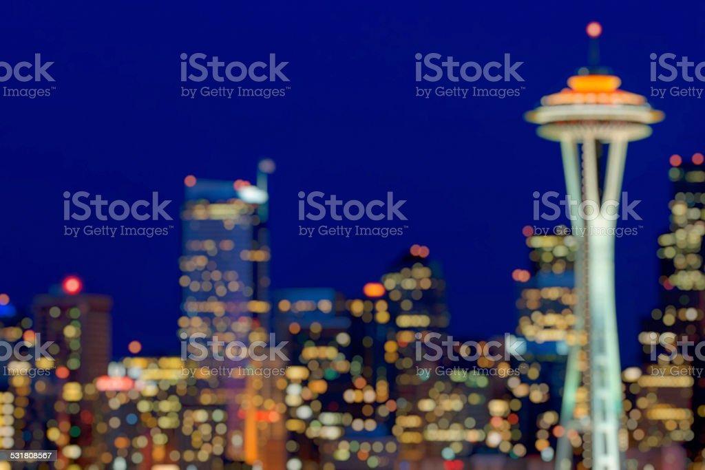 Defocused Seattle Skyline stock photo