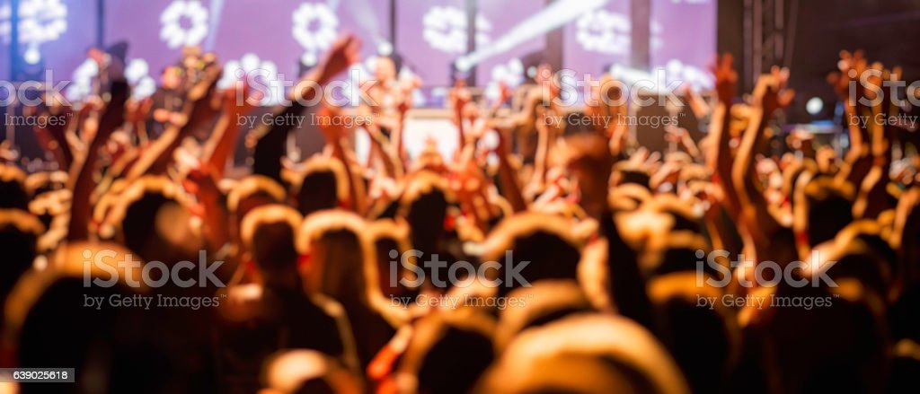 Panoramic photo of a crowd of spectators at a concert.