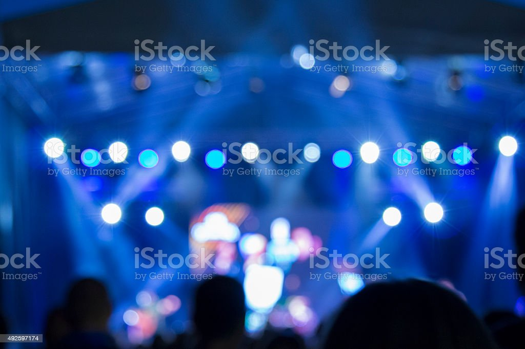 Defocused stage lights and crowd on a concert stock photo