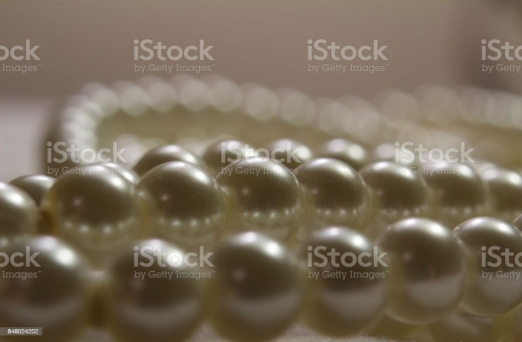 Defocused String Pearls Bokeh Background stock photo