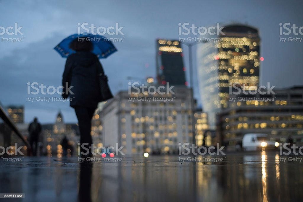 Defocused view of London skyline on a rainy day stock photo