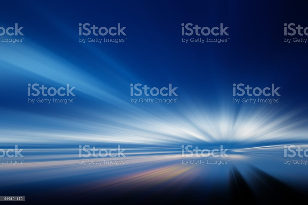 Defocused view of sunset stock photo