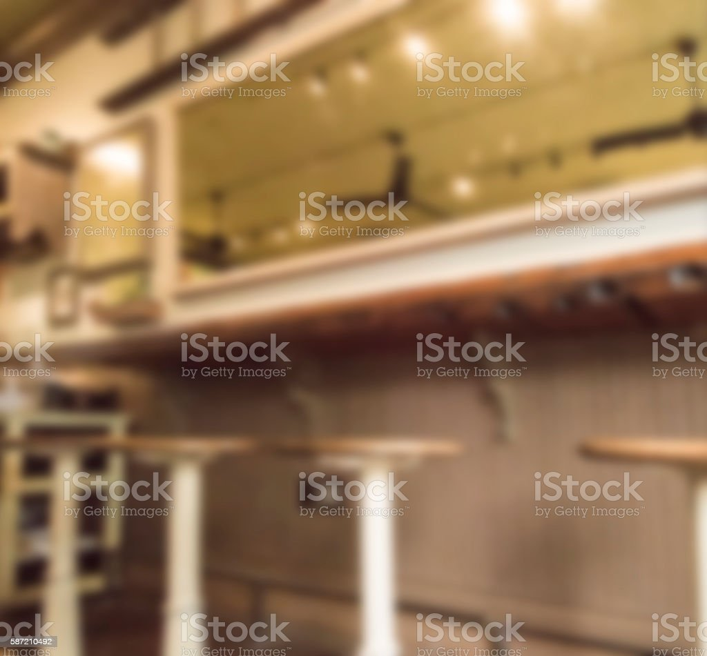 Defocused Vintage Soda Fountain  of Bleak Sepia Colors, Wide Angle stock photo