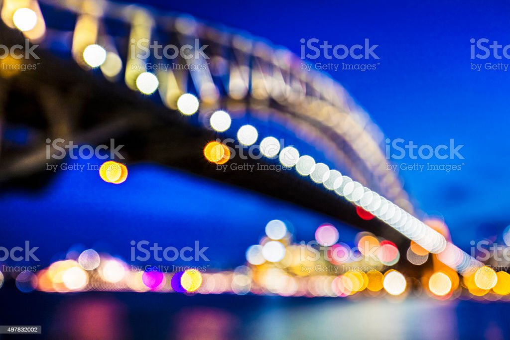 Defocussed image of Sydney Harbour Bridge stock photo