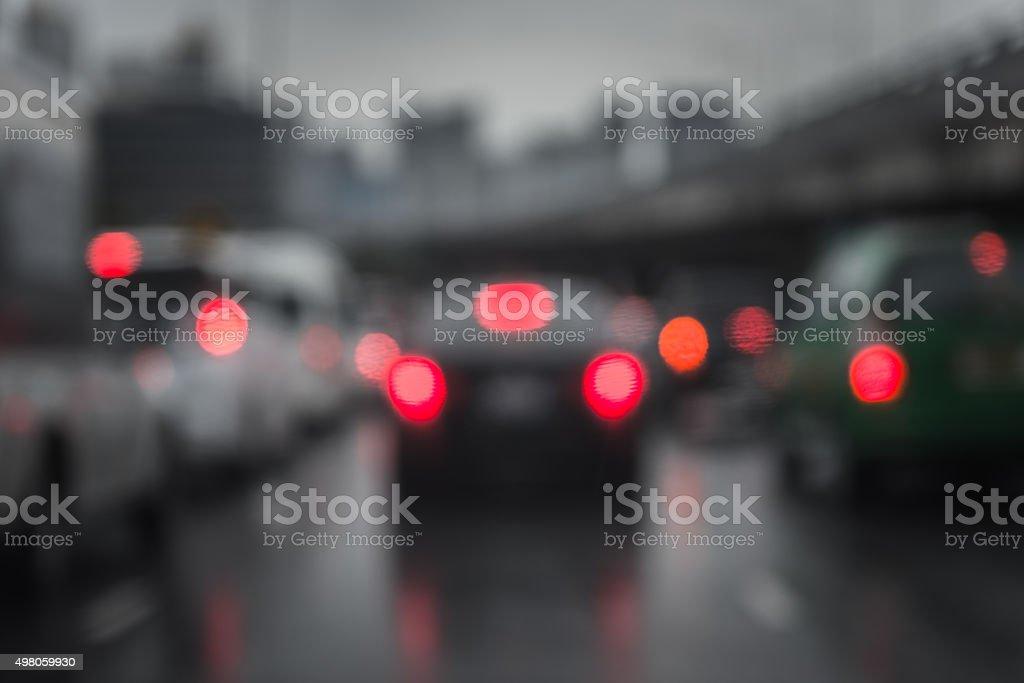 defocussed traffic viewed through a car windscreen stock photo