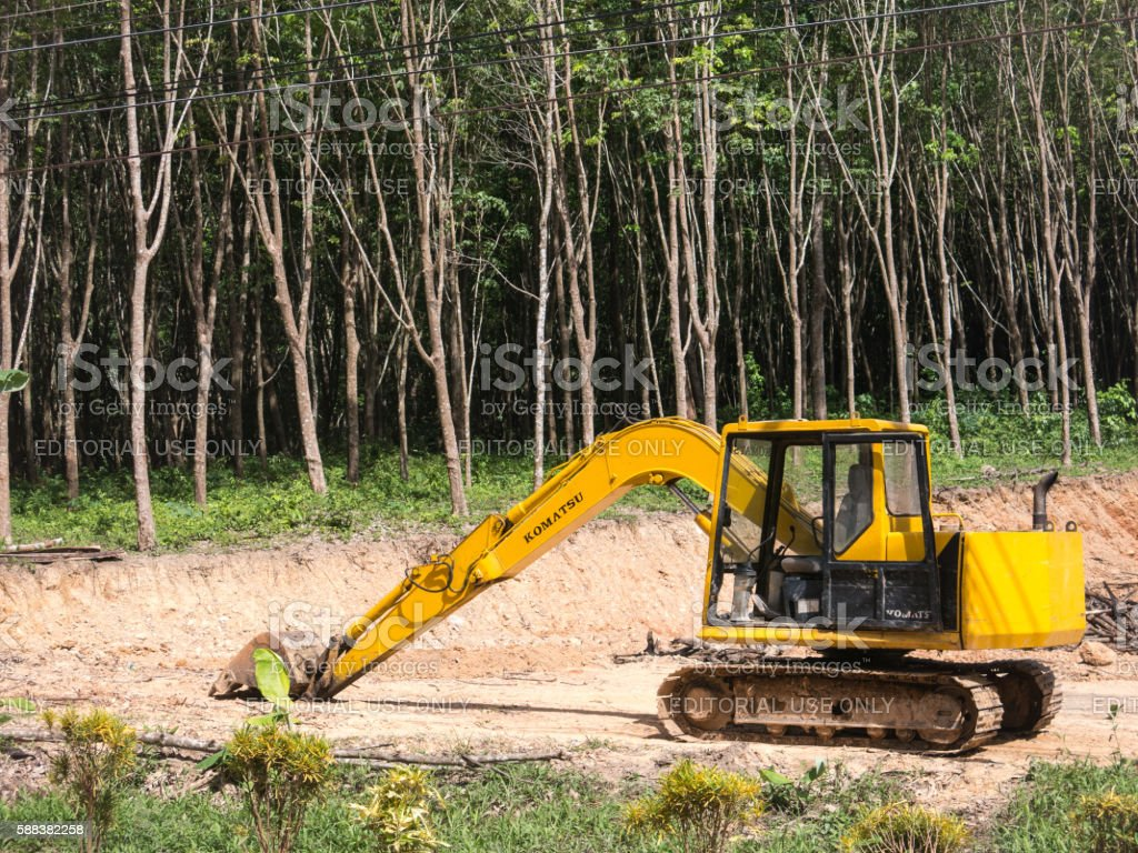 Deforestation Digger Forest Clearing stock photo