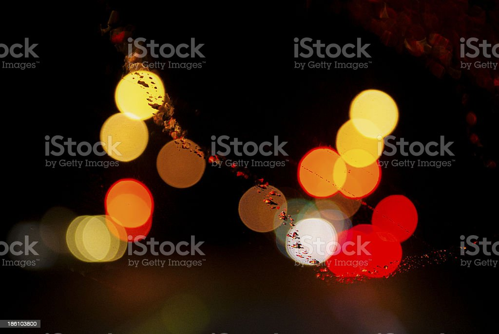 Defoucused light circles with diagonal water mark stock photo