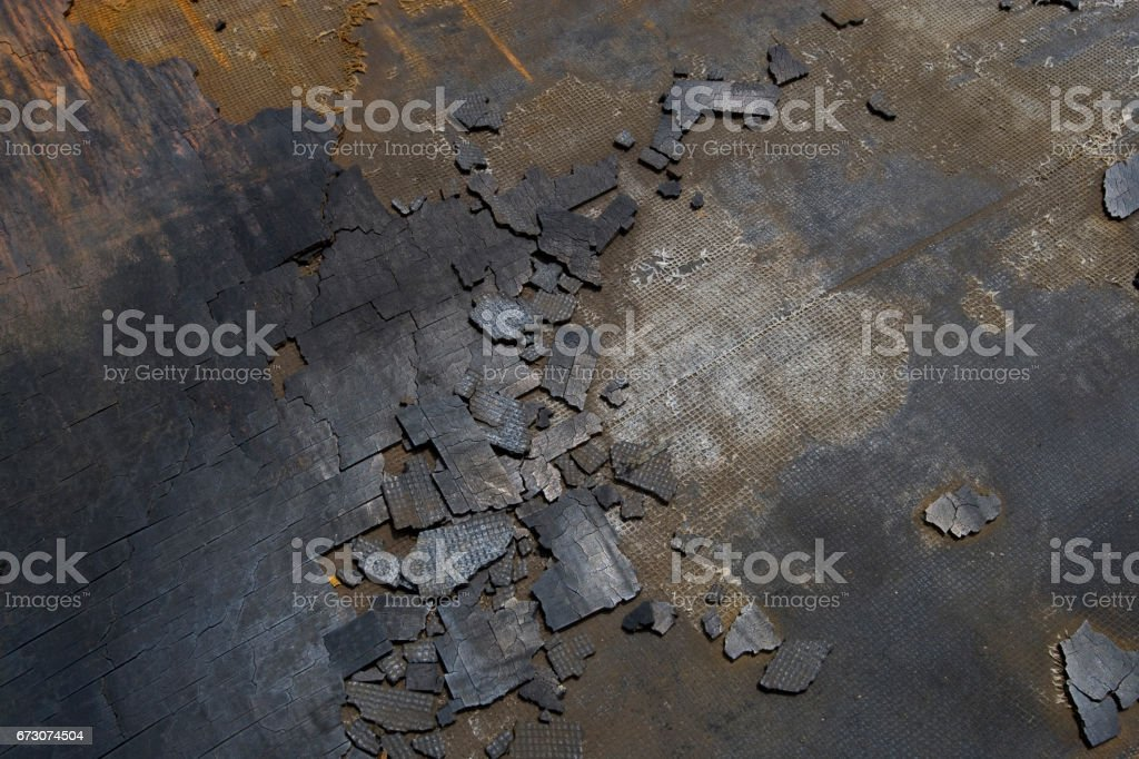Degradation of hard rubber plate stock photo