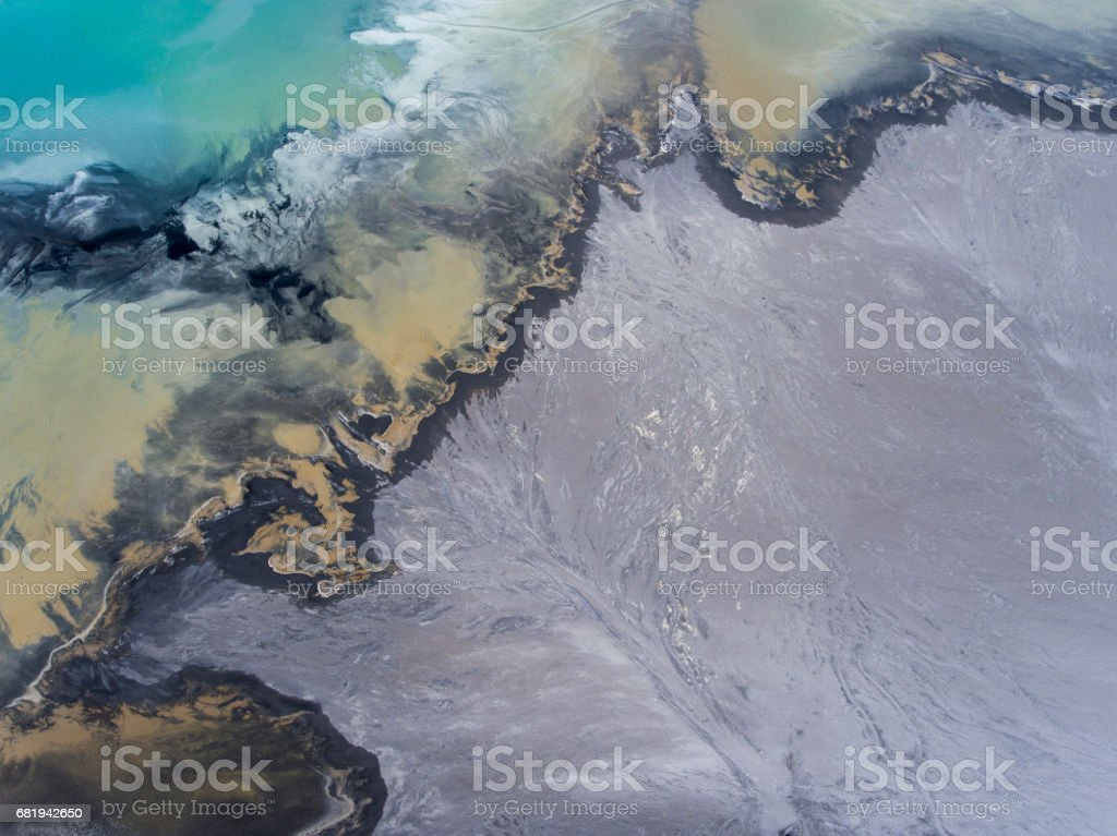 Degraded landscape in Poland. Destroyed land. View from above. Surrealistic lake. stock photo