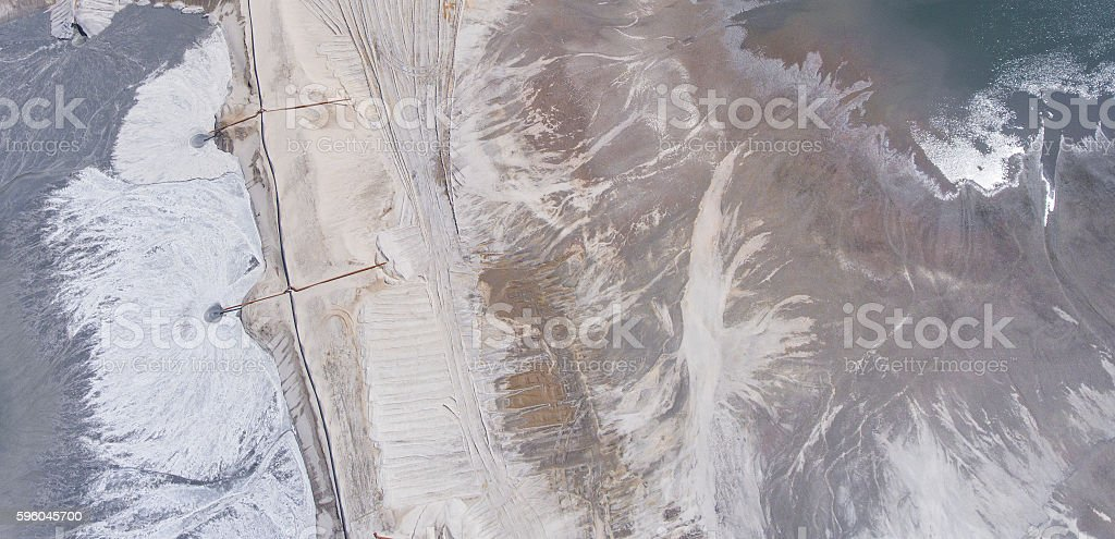 Degraded landscape minerals mine in south of Poland. stock photo