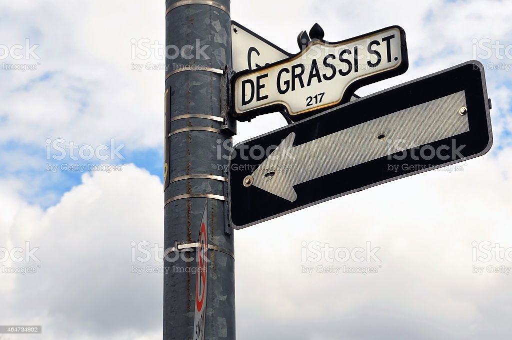Degrassi Steet sign in Toronto stock photo