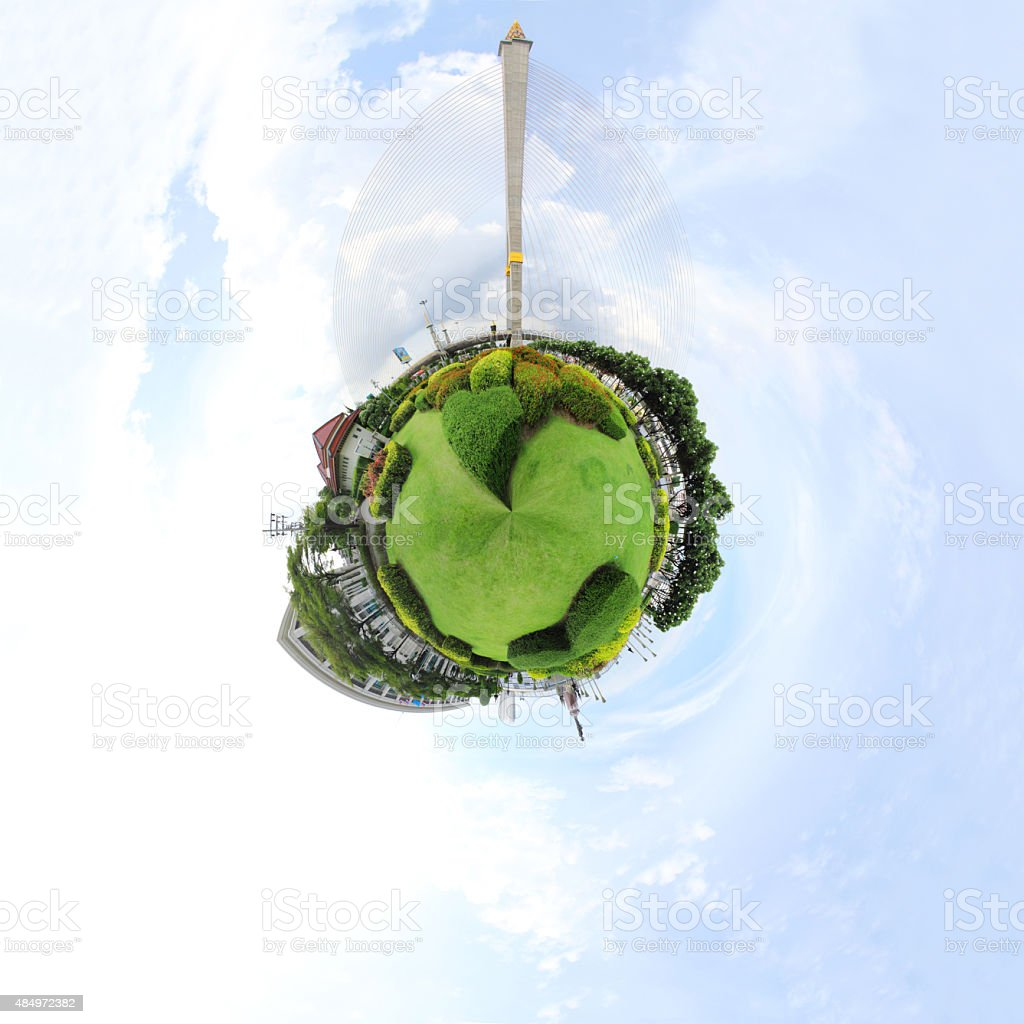 Degree panorama of park stock photo