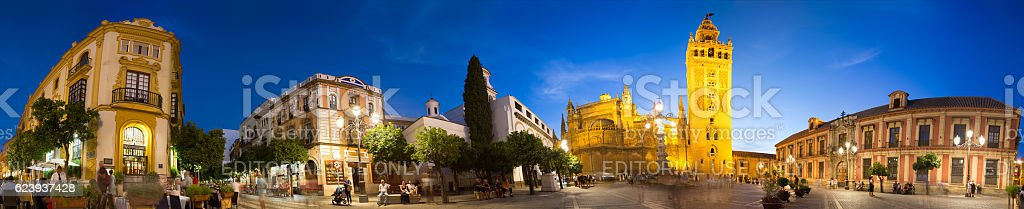 360 degree panorama of Plaza Virgen de los Reyes, Seville stock photo