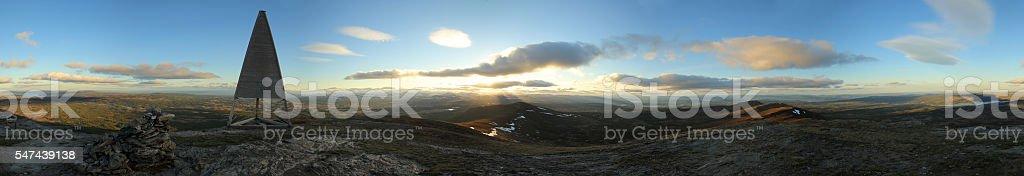 360 degree Panoramic view from the Swedish mountain Ansaett stock photo