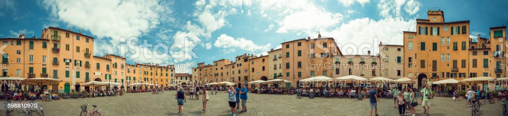 360 degree Panorma Piazza Anfiteatro lucca stock photo