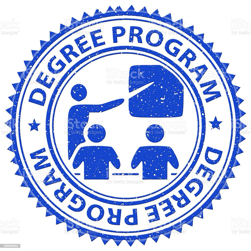 Degree Program Shows Stamps Educated And Education stock photo