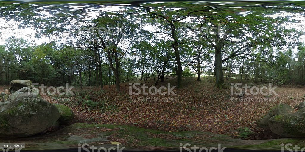 360 degree spherical panorama of  large stone tomb megalithic plant stock photo