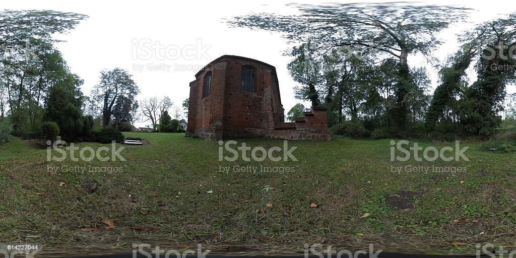360 degree spherical panorama old field stone church in germany stock photo