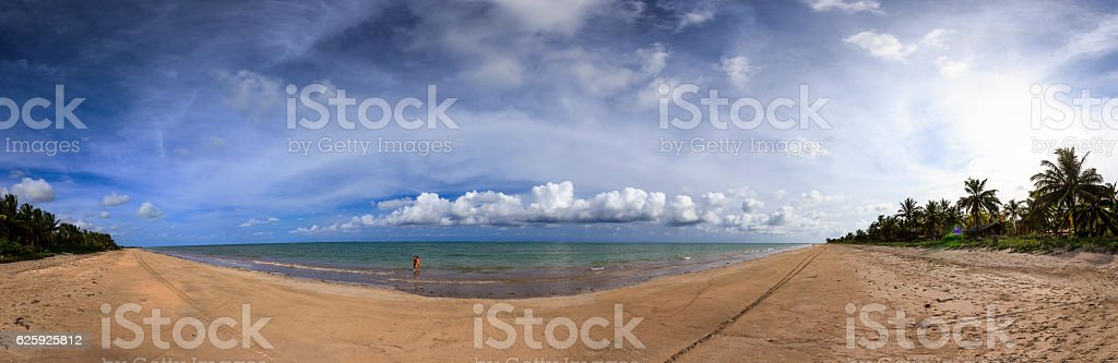 180 Degree View in Toque Beach at Sunset stock photo