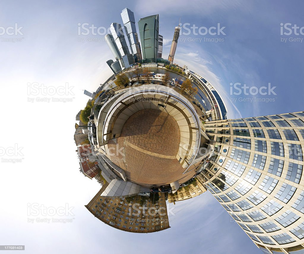 360 degrees panorama of Moscow-city, mini planet style royalty-free stock photo