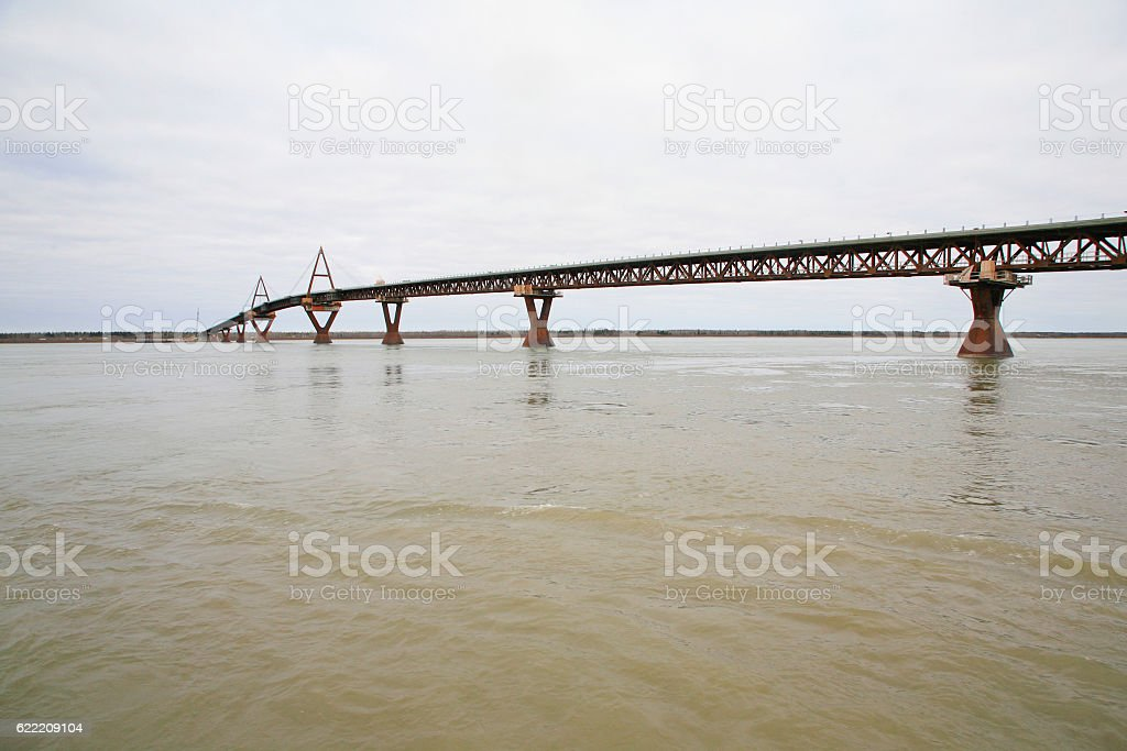 Deh Cho Bridge, Yellowknife stock photo