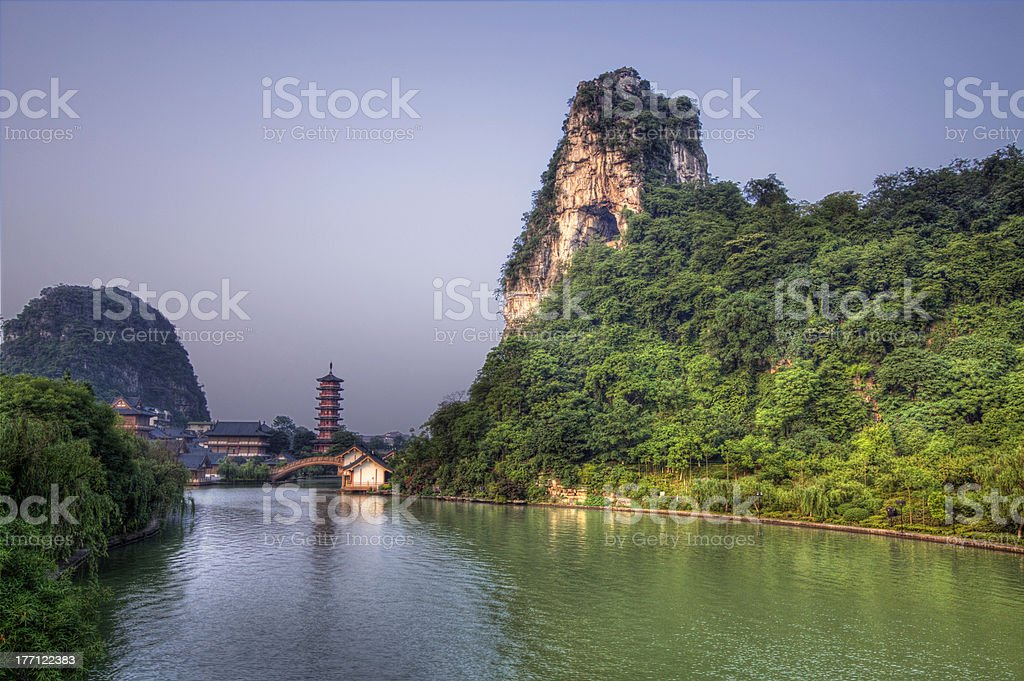 deicai hill guilin guangxi china stock photo