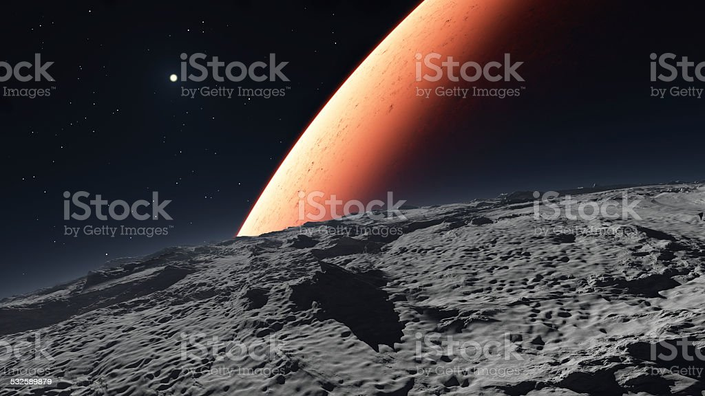 Deimos with the red planet Mars in the background stock photo