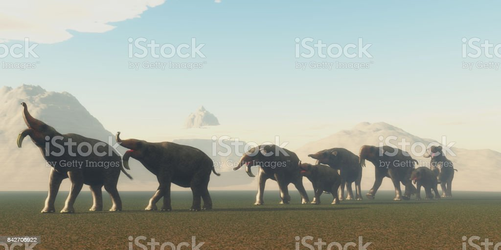 Deinotherium Herd stock photo