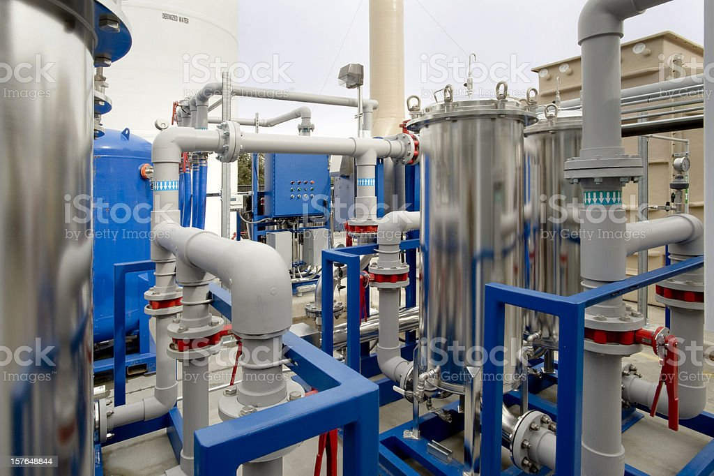 Deionized Water Filter System stock photo
