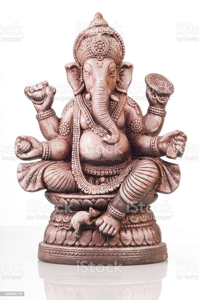 Deity of Ganesha from India on white background stock photo