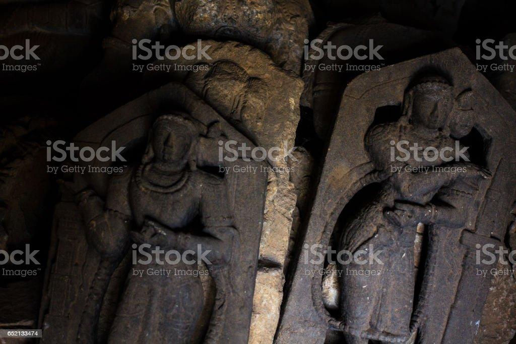 Deity sculpture in the Chennakesava temple at Somanathapura, Karnataka,India, Asia. stock photo