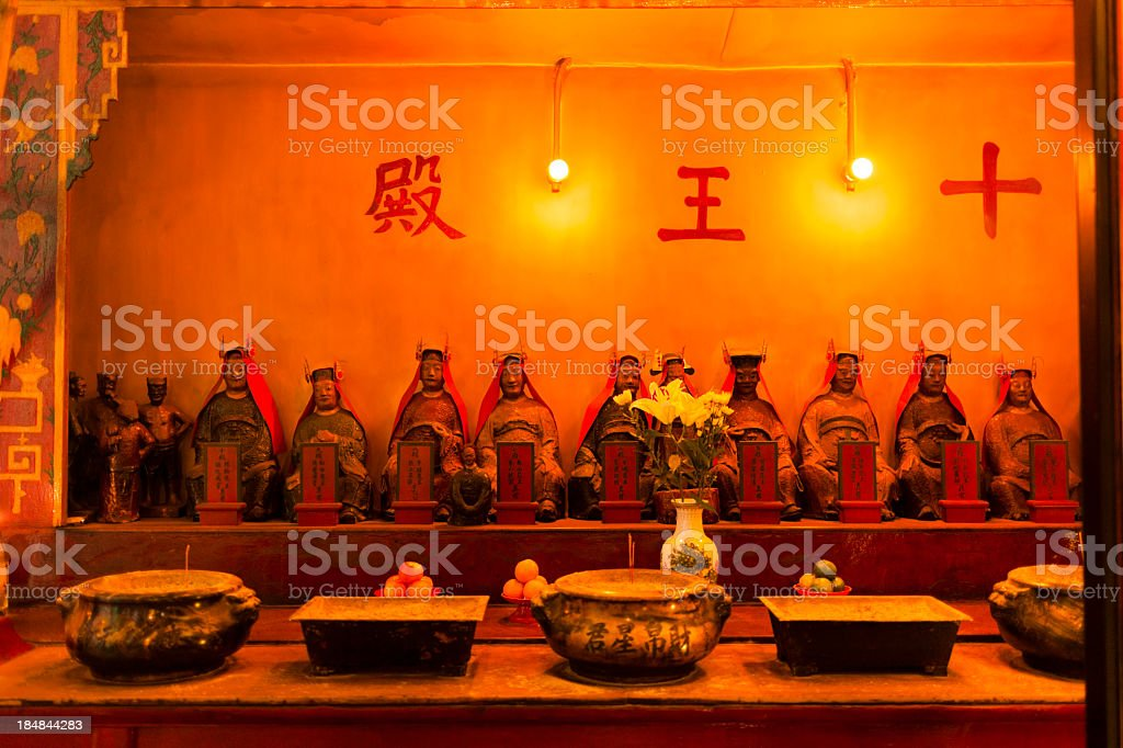 Deity statues in the temple of Man Mo Hong Kong royalty-free stock photo