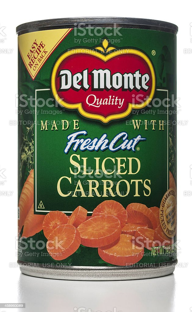 Del Monte Fresh Cut Sliced Carrots can royalty-free stock photo