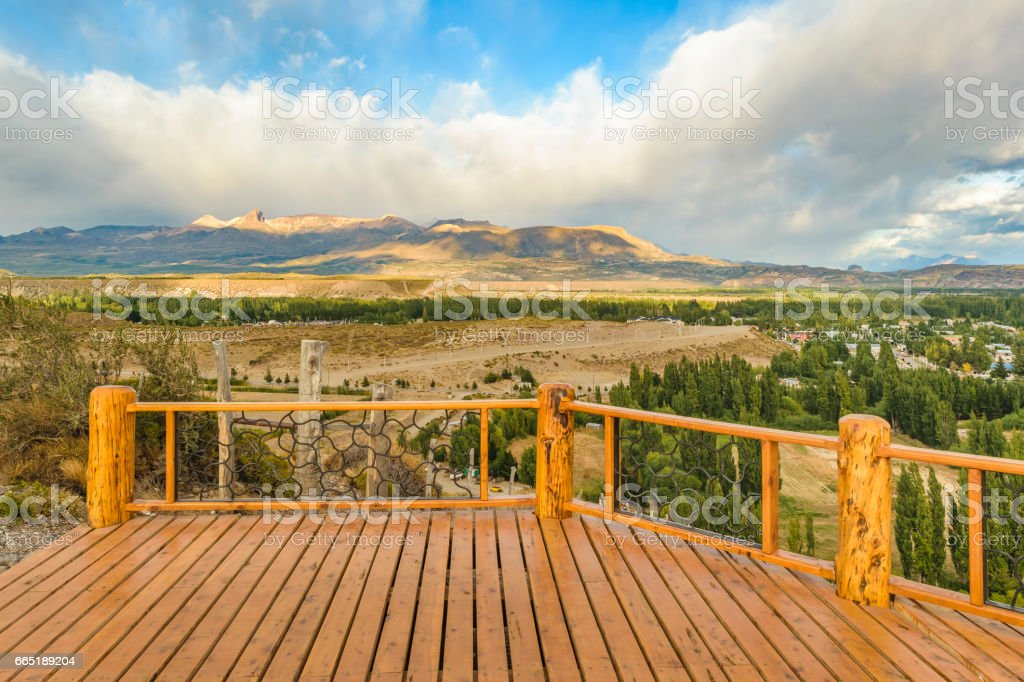 Del Valle Viewpoint, Los Antiguos, Argentina stock photo
