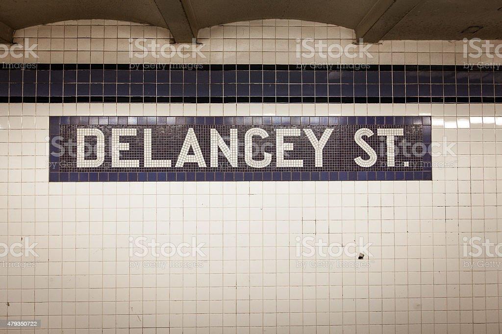 Delancey Street Subway Stop Tiles stock photo