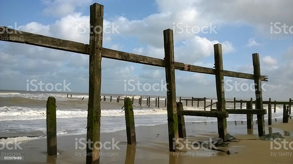 Delapidated defences stock photo