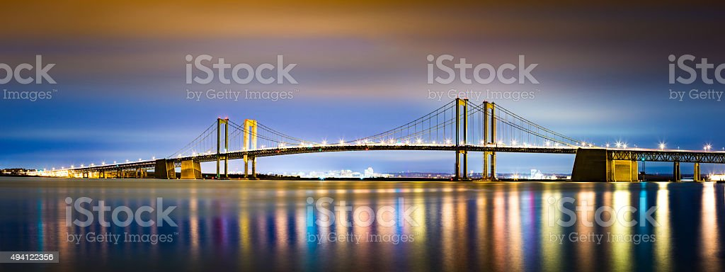 Delaware Memorial Bridge by night stock photo