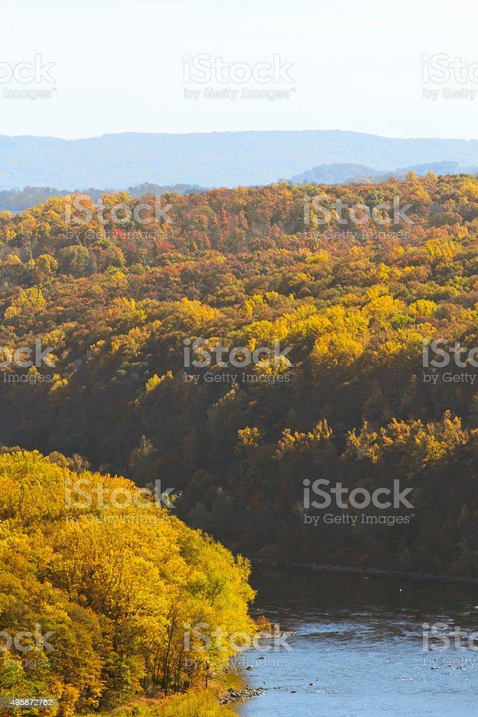 Delaware River Autumn stock photo